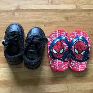 Baby boy Reebok shoes and Marvel sandals Sz 3